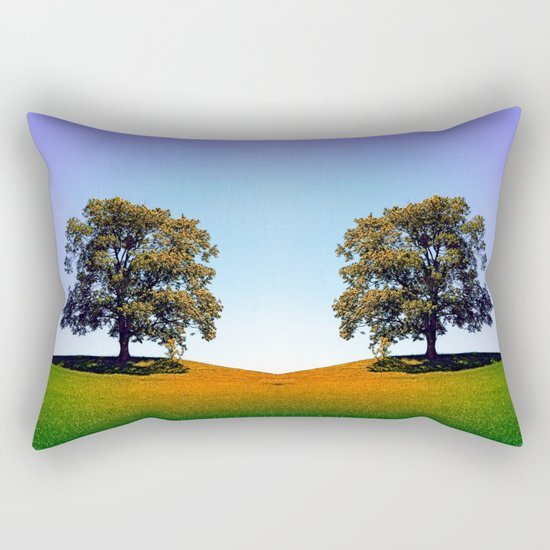 Posing tree on a hill in summertime Rectangular Pillow