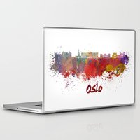 oslo Laptop & iPad Skins featuring Oslo skyline in watercolor by Paulrommer