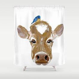 Bluebird Cow Shower Curtain