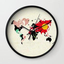 Flower map Wall Clock