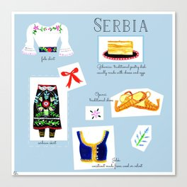 Map of Serbia Canvas Print