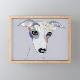 Whippet in Denim Colors Framed Mini Art Print