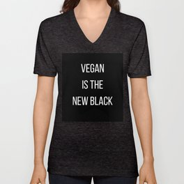 'Vegan is the new black' by Angela Stimson Unisex V-Neck