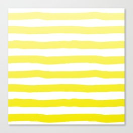Sun Yellow Handdrawn horizontal Beach Stripes - Mix and Match with Simplicity of Life Canvas Print