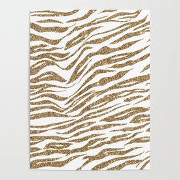 White & Glitter Animal Print Pattern Poster