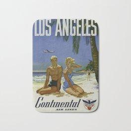 Los Angeles, Continental Air Lines - Vintage Poster Bath Mat