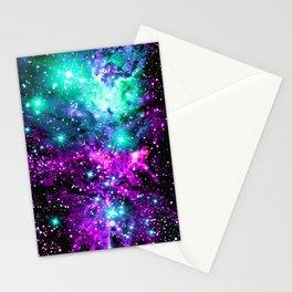 Fox Fur Nebula Teal Pink Purple Stationery Cards