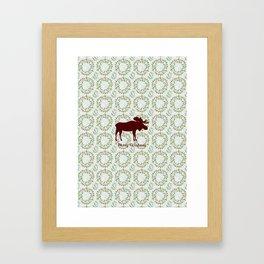 Winter Wreath Merry Christmas Red Buffalo Plaid Reindeer Framed Art Print