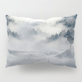 Photo of a wolf in a winter scene Pillow Sham