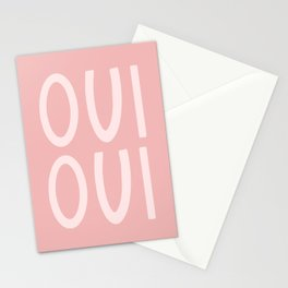 Oui Oui French Pink Hand Lettering Stationery Cards