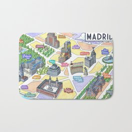 MADRID CITY by Javier Arrés. Madrid Map Illustration. Bath Mat
