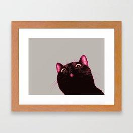 Curious cat, Black cat, Pop Art cat. Framed Art Print