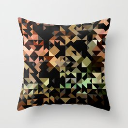 Geometric Brown and Green Throw Pillow