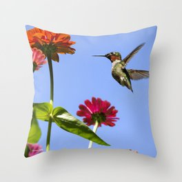 Hummingbird Happiness Throw Pillow