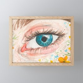 Eye. Watercolor painting. Elegant floral details. Framed Mini Art Print
