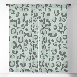 Jungle - Leopard Pattern Soft Pastel Green Blackout Curtain