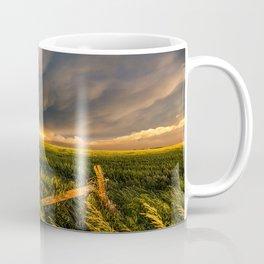 Breadbasket - Golden Light Illuminates Fence and Field in Kansas Coffee Mug