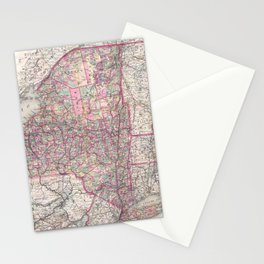 Vintage New York State Railroad Map (1876) Stationery Cards