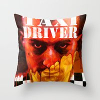taxi driver Throw Pillows featuring Taxi Driver by ChrisNygaard