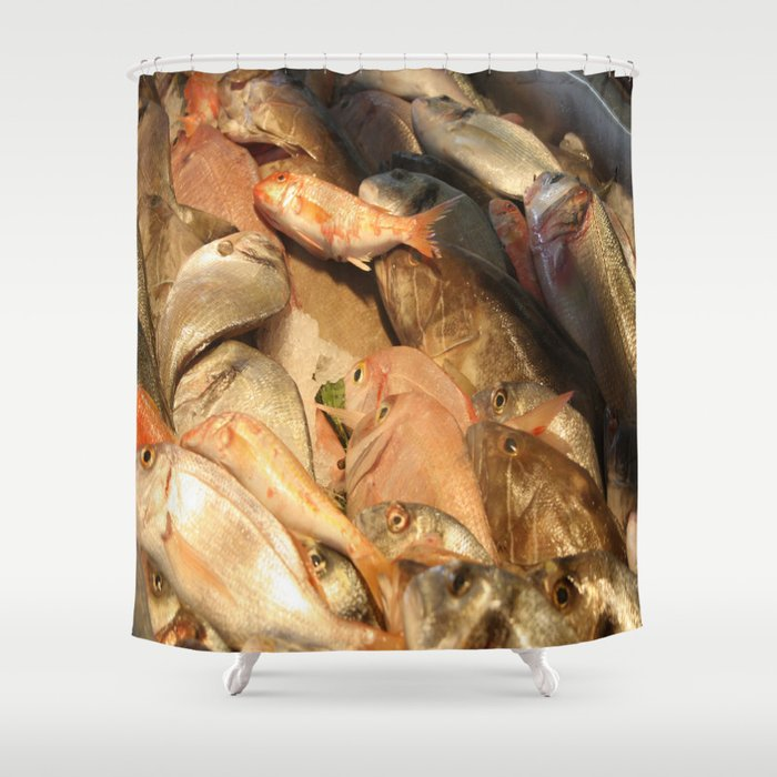 Variety of Fresh Fish Seafood on Ice Shower Curtain
