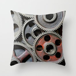 Group of old steel cogwheels Throw Pillow