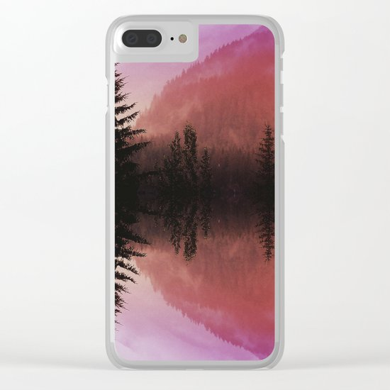 Sunset forest reflections Clear iPhone Case