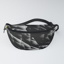 Toned pattern of chaotic black and white glass fragments, irregular cubic figures and ice floes. Fanny Pack