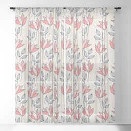 Tulips in pink and red on cream background Sheer Curtain