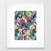 green Framed Art Prints featuring Painted Protea Pattern by micklyn