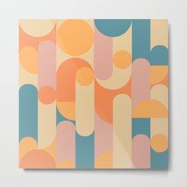 Retro Geometric Pattern Metal Print