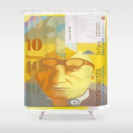 10 Swiss Francs note bill- front side Shower Curtain