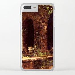 Carl Blechen - Grotto in The Park of The Villa d'Este near Rome - German Romanticism - Oil Painting Clear iPhone Case
