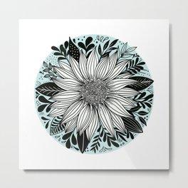 Sunflower Round Metal Print