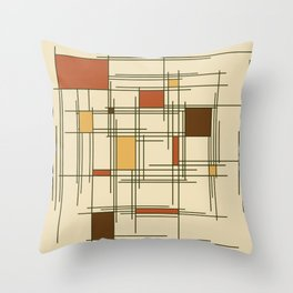 1940s Abstract Art Lines Throw Pillow