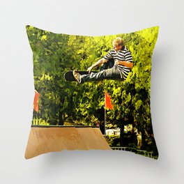 Flying High on Skateboard Ramp at the Park Throw Pillow