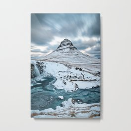 KIRKJUFELL IN WINTER - ICELAND MOUNTAIN - LANDSCAPE NATURE PHOTOGRAPHY Metal Print