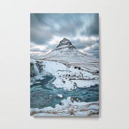 KIRKJUFELL MOUNTAIN & WATERFALL IN WINTER ICELAND LANDSCAPE Metal Print