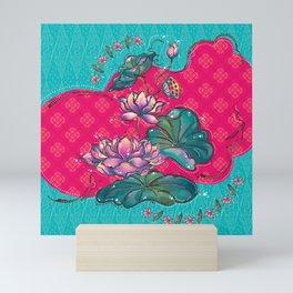 Peranakan Lotus Turquoise Pink Mini Art Print