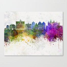 Tübingen skyline in watercolor background Canvas Print