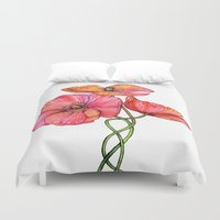 peach Duvet Covers featuring Peach & Pink Poppy Tangle by micklyn