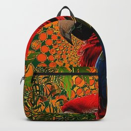 RED JUNGLE MACAW PATTERN ABSTRACT Backpack