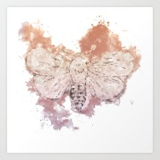 Moth Guided by Lunar Passion Art Print