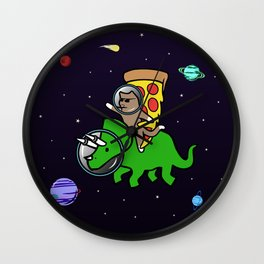 Cat And Pizza Riding Triceratops In Space Wall Clock