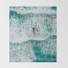 Girl Surfing Throw Blanket