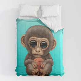 Cute Baby Monkey Playing With Basketball Comforters