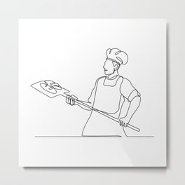Baker With Oven Peel Continuous Line Metal Print