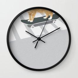 Skateboarding cat Wall Clock