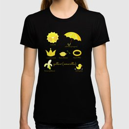 Colors: yellow (Los colores: amarillo) T-shirt