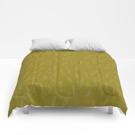 Linear Leaves - Mustard Comforters