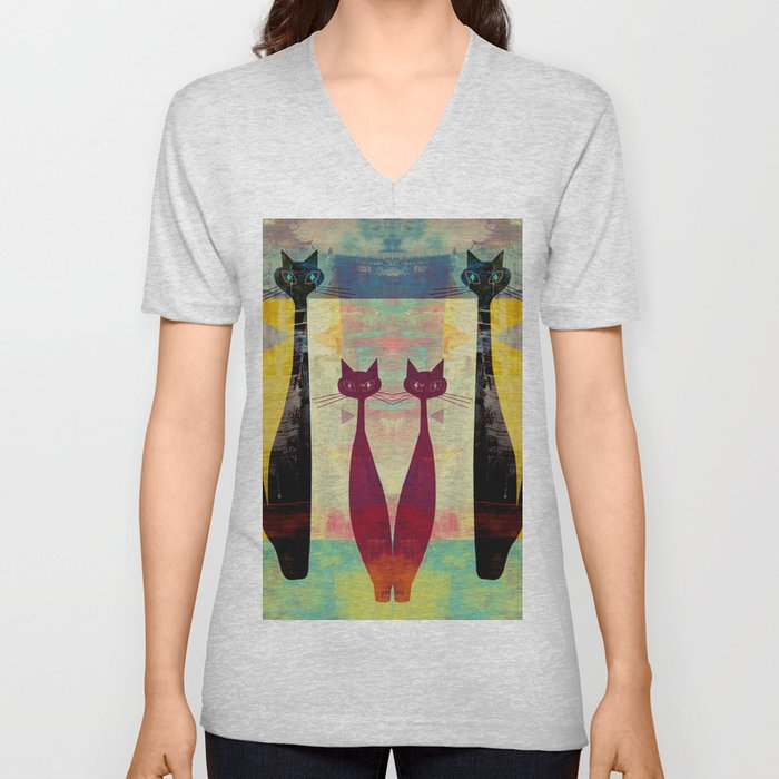 MidMod 4 Cats Graffiti Unisex V-Neck